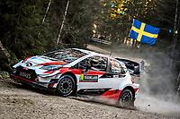 13th February 2020, Torsby base and Karlstad, Värmland County, Sweden; WRC Rally of Sweden, Shakedown event;  Takamoto Katsuta (JAP) - Dan Barritt (GBR) - Toyota Yaris WRC
