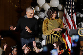 "United States President Barack Obama and first lady Michelle Obama dance on the Michael Jackson's song "" thriller"" during a Halloween event in the East Room of the White House October 31, 2016 in Washington, DC. The first couple hosted local children and children of military families for trick-or-treating at the White House.<br /> Credit: Olivier Douliery / Pool via CNP"