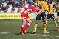 Matty Pearson of Accrington Stanley expresses his frustration after missing a chance during the Sky Bet League 2 match between Newport County and Accrington Stanley at Rodney Parade, Newport, Wales on 28 March 2016. Photo by Mark  Hawkins.