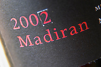 Bottle of detail of label Madiran 2002 Madiran France