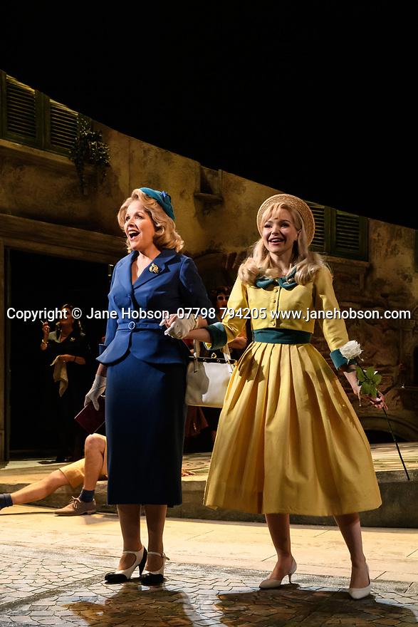 """The London premiere of the Tony award-winning musical, """"The Light in the Piazza"""", based on a novel by Elizabeth Spencer, opens at the Royal Festival Hall for a limited run of 20 performances. Book by Craig Lucas, with Music and Lyrics by Adam Guettel. Directed by multiple Olivier Award-winner Daniel Evans, this production, with a full set and period costumes, is performed by Opera North's 40-piece orchestra. The cast of stars from the West End, opera and television includes opera singer Renée Fleming, Disney's Dove Cameron, Alex Jennings (Netflix's The Crown), Rob Houchen (Les Misérables), Marie McLaughlin (Royal Opera House), Liam Tamne (Wicked) and Celinde Schoenmaker (The Phantom of the Opera). Picture shows: Renee Fleming (as Margaret Johnson), Dove Cameron (as Clara Johnson)."""