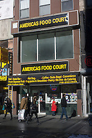 Americas Food Court on Fulton Street in Downtown Brooklyn in New York on Saturday, January 26, 2013. (© Richard B. Levine)