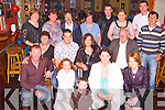 FAREWELL PARTY: A surprise farewell party was held at Kirbys Brogue Inn, Tralee, on Friday night last for Eddie and Clodagh Hughes, Racecourse Lawn, Tralee, who are setting up a new home in Mayo. Front row l-r: Christopher O'Connor, Kathy Hughes, Darragh Hughes, Caitriona O'Regan and Yvonne Hughes. Middle row l-r: Mary O'Connor, Eddie Hughes, Clodagh Hughes, Jer O'Connor and Jerome Daly. Back row l-r: Kathleen Grady, Bridget Garvey, Tom Long, Ann Murphy, Val Hennigan, Marcella Daly and DJ O'Connor..