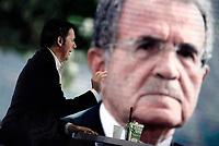 Roma, 26 settembre 2019<br /> Matteo Renzi a L'Aria che tira.<br /> Sulo schermo Romano Prodi