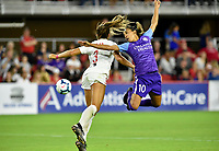 WASHINGTON, DC - AUGUST 24: Orlando Pride forward Marta (Marta Vieira da Silva) (10) watches a header attempt go toward the goal as Washington Spirit defender Samantha Sam Staab (3) defends during the National Women's Soccer League (NWSL) game between the Orlando Pride and Washington Spirit August 24, 2019 at Audi Field in Washington, D.C.. (Photo by Randy Litzinger/Icon Sportswire)