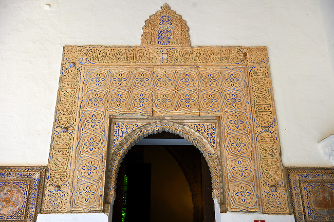 Arabesque Mudéjar style plaster workof the  Alcazar of Seville, Seville, Spain