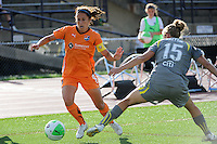 Kacey White (8) of Sky Blue FC is marked by Nikki Krzysik (15) of the Philadelphia Independence. The Philadelphia Independence defeated Sky Blue FC 2-1 during a Women's Professional Soccer (WPS) match at John A. Farrell Stadium in West Chester, PA, on June 6, 2010.
