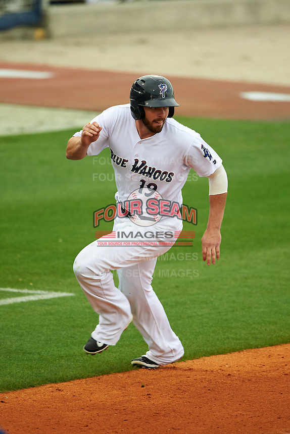 Pensacola Blue Wahoos designated hitter Sean Buckley (19) scores a run during the second game of a double header against the Biloxi Shuckers on April 26, 2015 at Pensacola Bayfront Stadium in Pensacola, Florida.  Pensacola defeated Biloxi 2-1.  (Mike Janes/Four Seam Images)