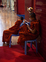 Buddhist Monk and his cell phone at 3AM at the cleansing of the Buddha ceremony, the Mahamuni Buddha Temple it is a Buddhist temple and major pilgrimage site, located southwest of Mandalay, Myanmar. The Mahamuni Buddha image is deified in this temple, and originally came from Arakan. Myanmar, Burma,