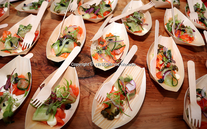 The Ascot Hotel Emberz food stall salmon gravlax with pickled cucumber at the Bluff Oyster and Food Festival, Bluff, New Zealand, Saturday, May 21, 2016. Credit: Dianne Manson