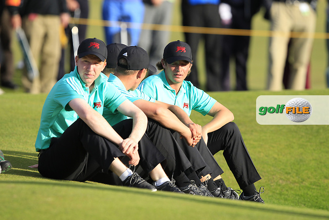 GB &amp; Ireland team members watching the Gary Hurley (IRL) match during the afternoon singles for the Walker cup Royal Lytham St Annes, Lytham St Annes, Lancashire, England. 13/09/2015<br /> Picture Golffile | Fran Caffrey<br /> <br /> <br /> All photo usage must carry mandatory copyright credit (&copy; Golffile | Fran Caffrey)