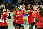 Rüsselsheim, Germany, April 13: Rote Raben Vilsbiburg celebrate after winning a point after play off Game 1 in the best of three series in the semifinal of the DVL (Deutsche Volleyball-Bundesliga Damen) season 2013/2014 between the VC Wiesbaden and the Rote Raben Vilsbiburg on April 13, 2014 at Grosssporthalle in Rüsselsheim, Germany. Final score 0:3 (Photo by Dirk Markgraf / www.265-images.com) *** Local caption ***