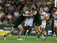 England's Jermaine McGillvary is tackled during the Rugby League World Cup final between Australia and England, Suncorp Stadium, Brisbane, Australia, 2 December 2017. Copyright Image: Tertius Pickard / www.photosport.nz MANDATORY CREDIT/BYLINE : SWpix.com/PhotosportNZ