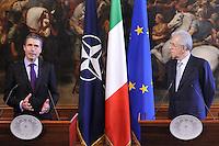 Roma 27 Aprile 2012.Palazzo Chigi.Il Presidente del Consiglio, Mario Monti, ha ricevuto, a Palazzo Chigi, il Segretario generale della NATO, Anders Fogh Rasmussen.