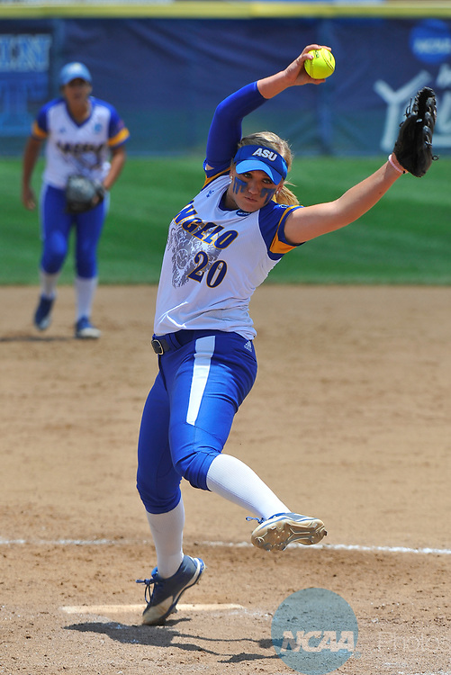 SALEM, VA - MAY 29:  Kenedy Urbany (20) of Angelo State University pitches against Minnesota State University during the Division II Women's Softball Championship held at Moyer Park on May 29, 2017 in Salem, Virginia. Minnesota State defeated Angelo State 5-1 to win the national championship. (Photo by Andres Alonso/NCAA Photos via Getty Images)