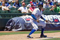 Round Rock shortstop Jurickson Profar (10) takes his lead off of third base against the Nashville Sounds in the Pacific Coast League baseball game on May 5, 2013 at the Dell Diamond in Round Rock, Texas. Round Rock defeated Nashville 5-1. (Andrew Woolley/Four Seam Images).