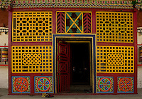 Art in monastery architecture, Sikkim, India - decorated colorful entrance