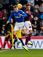 26th January 2020, Tynecastle Park, Edinburgh, Scotland; Scottish Premier League football, Hearts of Midlothian versus Rangers; Sean Clare of Hearts and Borna Barisic of Rangers compete for a header