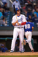 Chattanooga Lookouts outfielder Travis Harrison (17) at bat during a game against the Jacksonville Suns on April 30, 2015 at AT&T Field in Chattanooga, Tennessee.  Jacksonville defeated Chattanooga 6-4.  (Mike Janes/Four Seam Images)