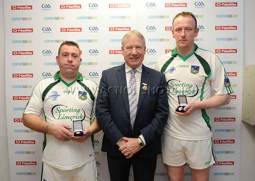 07/04/2018; GAA Handball O&rsquo;Neills 40x20 Championship Finals - Mens Over-35 B. Limerick (Keith Heelan/John Keyes) v Wexford (James Stanners/David Stanners);<br /> Winners Keith Heelan and John Keyes with GAA Handball President Joe Masterson<br /> Photo Credit: actionshots.ie/Tommy Grealy