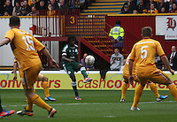 Ibrahim Sissoko crosses in the Motherwell v Panathinaikos UEFA Champions League 3rd Qualifying Round 1st Leg match at Fir Park, Motherwell on 31.7.12.