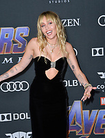 "LOS ANGELES, USA. April 22, 2019: Miley Cyrus at the world premiere of Marvel Studios' ""Avengers: Endgame"".<br /> Picture: Paul Smith/Featureflash"