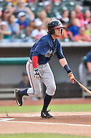 Mississippi Braves shortstop Dansby Swanson (7) starts down the first base line during a game against the Tennessee Smokies at Smokies Stadium on July 23, 2016 in Kodak, Tennessee. The Braves defeated the Smokies 3-0. (Tony Farlow/Four Seam Images)
