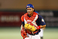 21 September 2012: Catcher Andy Paz walks back to the home plate during France vs South Africa tie game 2-2, rain delayed at the end of the 9th inning at 1 AM, during the 2012 World Baseball Classic Qualifier round, in Jupiter, Florida, USA. Game to resume 22 September 2012 at noon.