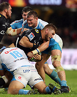 DURBAN, SOUTH AFRICA - APRIL 14: Roelof Smit of the Vodacom Blue Bulls tackling Tyler Paul of the Cell C Sharks during the Super Rugby match between Cell C Sharks and Vodacom Bulls at Jonsson Kings Park Stadium on April 14, 2018 in Durban, South Africa. Photo: Steve Haag / stevehaagsports.com