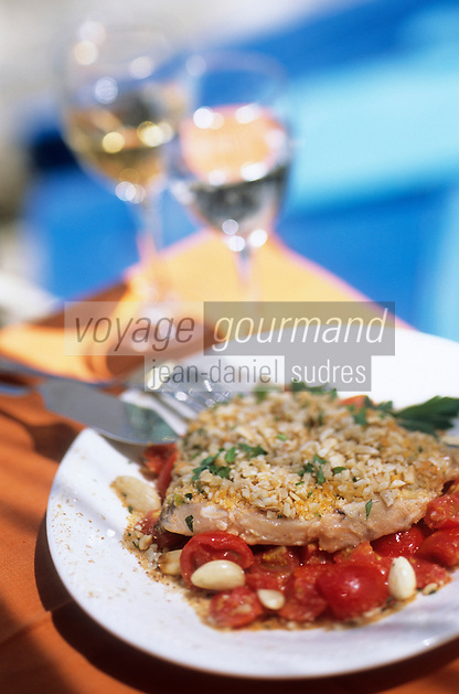 """Europe/Italie/Calabre/Scilla : Espadon aux amandes - Recette du restaurant """"Il Pirata"""" quartier Chianalea"""