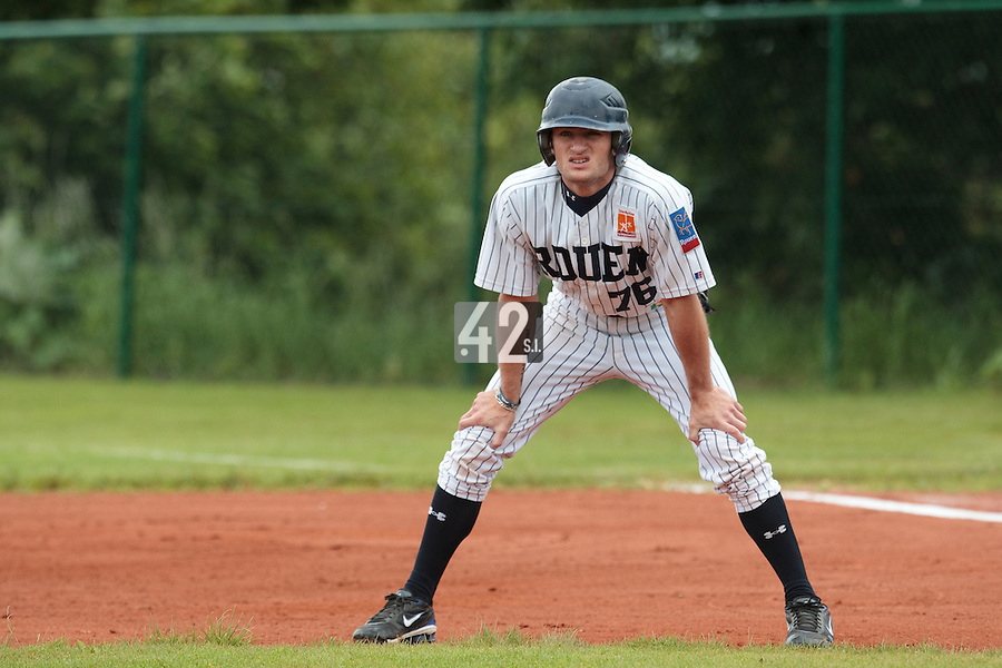 03 June 2010: Joris Bert of Rouen is seen during the 2010 Baseball European Cup match won  8-4 by C.B. Sant Boi over the Rouen Huskies, at the Kravi Hora ballpark, in Brno, Czech Republic.