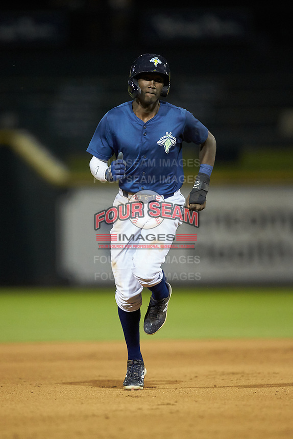 Ronny Mauricio (2) of the Columbia Fireflies rounds the bases during the game against the Rome Braves at Segra Park on May 13, 2019 in Columbia, South Carolina. The Fireflies defeated the Braves 6-1 in game two of a doubleheader. (Brian Westerholt/Four Seam Images)