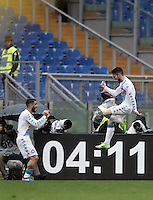 Napoli&rsquo;s Dries Mertens, right, celebrates with his teammate Lorenzo Insigne after scoring his second goal during the Italian Serie A football match between Roma and Napoli at Rome's Olympic stadium, 4 March 2017. <br /> UPDATE IMAGES PRESS/Isabella Bonotto