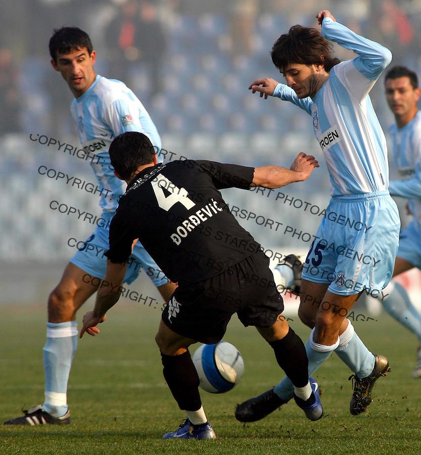 Fudbal, SUPER LIGA, season 2006/07&amp;#xA;OFK Beograd-Partizan&amp;#xA;Stefan Babovic, right, and Nenad Djordjevic&amp;#xA;Beograd, 03.12.2006.&amp;#xA;foto: SRDJAN STEVANOVIC<br />