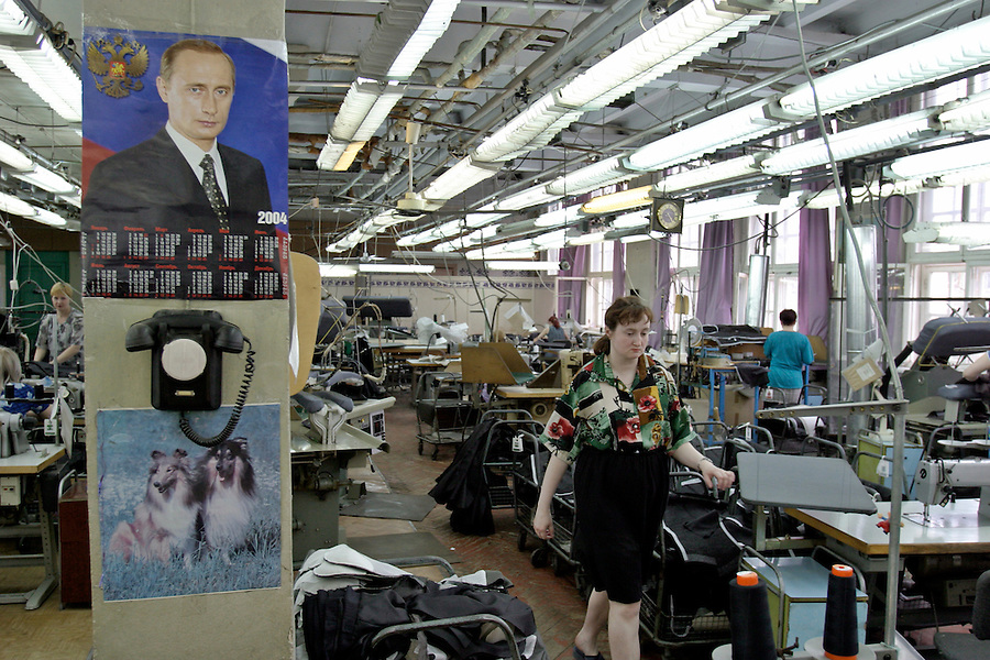 Tver, Russia,30/04/2004..Seamstresses at work in the Tver Sewing Factory, which mainly produces men's suits for the Russian market.