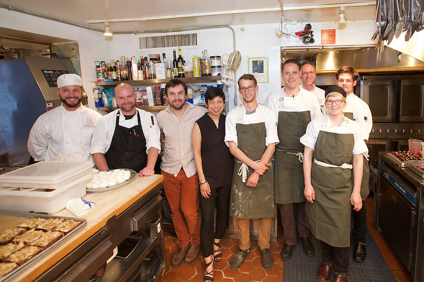 New York, NY - June 14, 2016: Chef Jon Nodler and the team from High Street on Hudson present dinner at the James Beard House.<br /> <br /> CREDIT: Clay Williams for the James Beard House.<br /> <br /> &copy; Clay Williams / claywilliamsphoto.com
