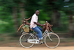 TANGA, TANZANIA - JULY 7:  A man rides to the market with cassava roots attached to his bike on July 7, 2010 in Tanga, Tanzania. No continent depends as much the cassava in feeding its population as does Africa. In the humid and sub-humid areas of tropical Africa, cassava is either a primary staple food or a secondary co-staple.  Since being introduced by Portuguese traders from Brazil in the 16th century, maize and cassava have replaced traditional African crops as the continent's most important staple food crops. African nations account for more than half of the 230 tons of cassava produced worldwide.
