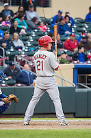 Cody Stanley (21) of the Memphis Redbirds at bat against the Omaha Storm Chasers in Pacific Coast League action at Werner Park on April 24, 2015 in Papillion, Nebraska.  (Stephen Smith/Four Seam Images)