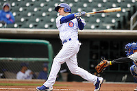 Josh Vitters #1 of the Iowa Cubs swings against the Omaha Storm Chasers at Principal Park on May 1, 2014 in Des Moines, Iowa. The Cubs  beat Storm Chasers 1-0.   (Dennis Hubbard/Four Seam Images)