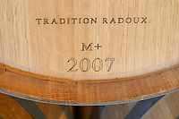 Oak barrel marked Tradition M + medium plus toast Radoux 2007 chateau le boscq st estephe medoc bordeaux france