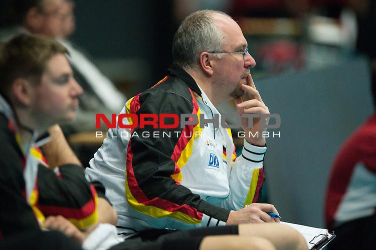 29.12.2013, Lotto Dome, Maaseik<br /> Volleyball, Belgien vs. Deutschland<br /> <br /> Mark Lebedew (Co-Trainer GER)<br /> <br />   Foto &copy; nordphoto / Kurth