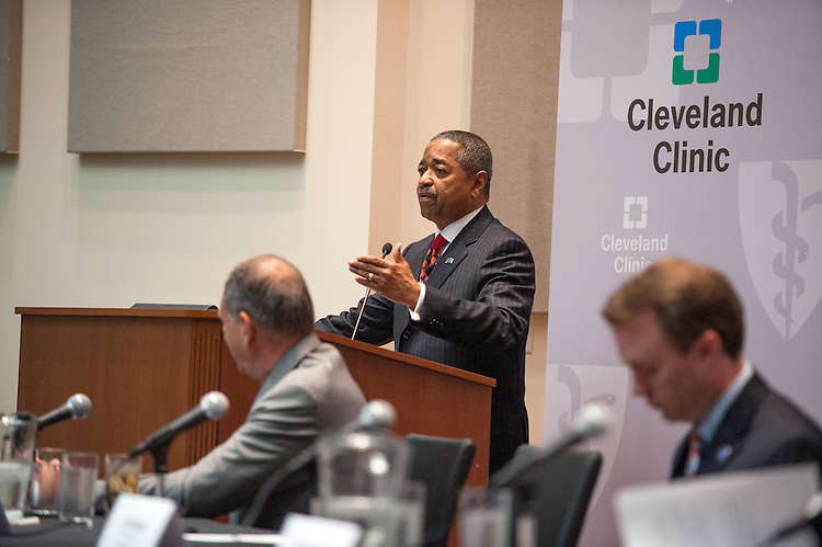 Ohio University President Dr. Roderick McDavis speaks at a press conference at Southpointe Hospital about a new partnership with the Cleveland Clinic and the Heritage College of Osteopathic Medicine.