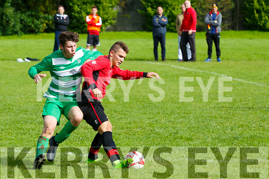 In Action Celtic's Cathal O'Shea and Dynamos Ivan Kolarevic at the  Tralee Dynamos v Killarney Celtic at Cahermoneen on Sunday