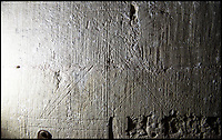 BNPS.co.uk (01202 558833)<br /> Pic: PhilYeomans/BNPS<br /> <br /> Some graffiti was used to help stone masons or carpenters understand construction techniques.<br /> <br /> Salisbury Cathedral has taken the unusual step of launching 'Grafitti Tours' of it's 800 year old building, as part of a three year project to document the thousands of examples of centuries-old 'graffiti' which adorn the walls of the 13th century cathedral.<br /> <br /> The inside of the Cathedral in Wiltshire is covered in markings etched into its fabric by fervent, desperate or just bored visitors ranging from simple inscriptions to more intricate designs used to ward off evil spirits.  <br /> <br /> Cathedral guide Steve Dunn intends to record all the marks or 'graffiti' which in some cases date back from when the cathedral was completed in 1258.<br /> <br /> Helped by about 60 volunteers, he is collating images of the graffiti and researching the story behind them.