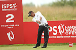Defending champion Thongchai Jaidee drives at the 2nd during the second round of the ISPS Handa Wales Open 2013 at the Celtic Manor Resort<br /> <br /> 30.08.13<br /> <br /> ©Steve Pope-Sportingwales