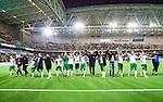 Stockholm 2014-09-21 Fotboll Superettan Hammarby IF - Syrianska FC :  <br /> Hammarbys spelare jublar framf&ouml;r Hammarbys supportrar i Tele2 Arena efter segern &ouml;ver Syrianska<br /> (Foto: Kenta J&ouml;nsson) Nyckelord:  Superettan Tele2 Arena Hammarby HIF Bajen Syrianska FC SFC jubel gl&auml;dje lycka glad happy supporter fans publik supporters inomhus interi&ouml;r interior