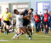 17th November 2019; The Sportsground, Galway, Connacht, Ireland; European Rugby Champions Cup, Connacht versus Montpellier; Colby Fainga'a (Connacht) tries to get past Jan Serfontein (Montpellier) - Editorial Use