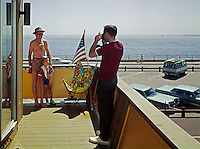 Atlantic Hotel, Hampton Beach, New Hampshire, Man taking a picture of his son and his father