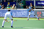 The Hague, Netherlands, June 01: Agustin Mazzilli #26 of Argentina drags the ball at a penalty corner during the first half during the field hockey group match (Men - Group B) between The Netherlands and Argentina on June 1, 2014 during the World Cup 2014 at Kyocera Stadium in The Hague, Netherlands. Final score 3:1 (1:1) (Photo by Dirk Markgraf / www.265-images.com) *** Local caption ***