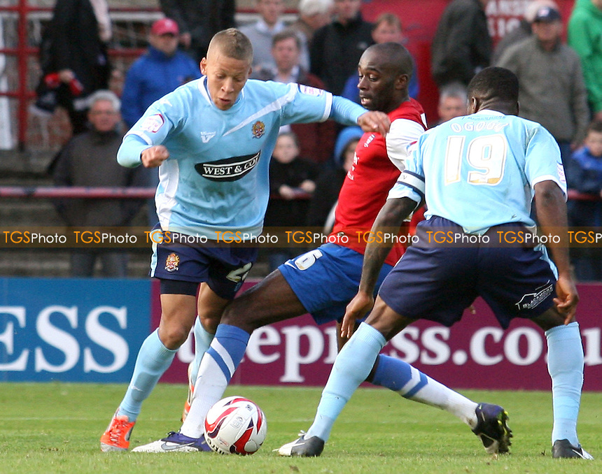 Dwight Gayle of Dagenham is brought down in the penalty area by Jamal Fyfield of York City but is now awarded a penalty - York City vs Dagenham and Redbridge at the Bootham Crescent Stadium  - 20/10/12 - MANDATORY CREDIT: Dave Simpson/TGSPHOTO - Self billing applies where appropriate - 0845 094 6026 - contact@tgsphoto.co.uk - NO UNPAID USE.